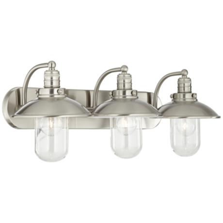Downtown Edison 28 1 2 Wide Brushed Nickel Bath Light 2y639