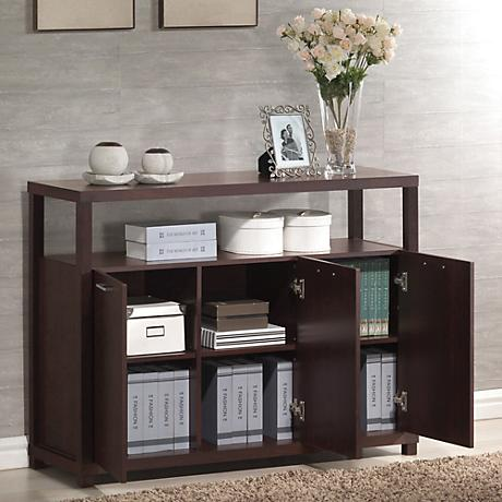 Hill Espresso 3-Door Accent Cabinet