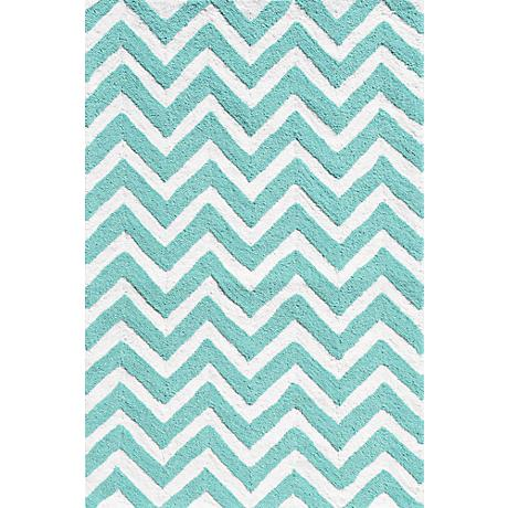 Resort Chevron 25606 Teal Indoor/Outdoor Area Rug
