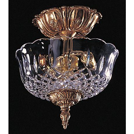 "Crystal Olde Brass Finish 10"" Wide Ceiling Light"