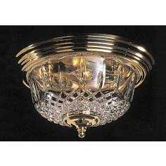 "Crystal Olde Brass Finish 13"" Wide Ceiling Light"