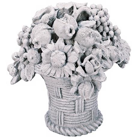 Garden Bouquet Basket Stone Accent Sculpture