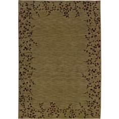 Cherry Blossom Border Green Area Rug