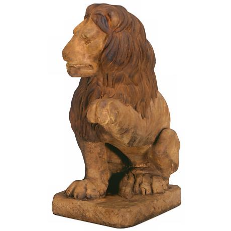 "Henri Studio Lion (Left Paw Up) 24"" High Garden Sculpture"