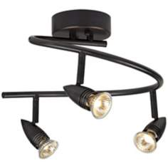 LED or Halogen Pro Track Bronze Three Light Spiral Light Fixture