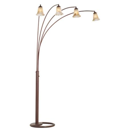 Four Arm Marbleized Glass Arc Floor Lamp