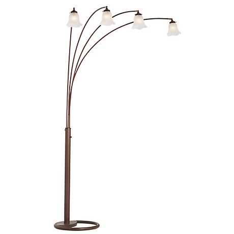 Four Arm Bronze Finish Scalloped Glass Arc Floor Lamp