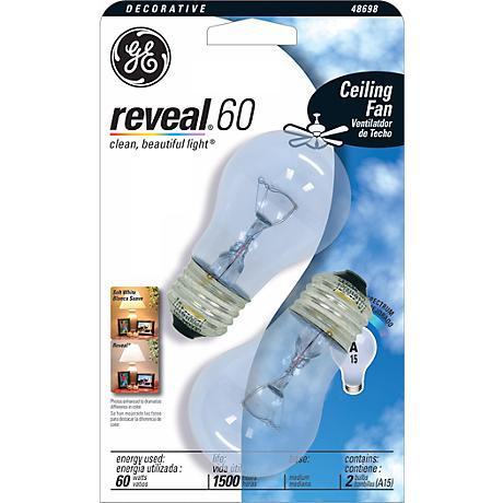 GE Reveal 60 Watt Ceiling Fan 2-Pack Clear Light Bulbs