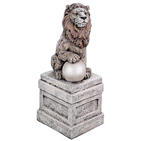 "Castle Lion on Base Right Facing 25"" High Garden Accent"