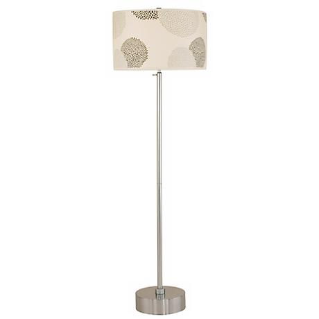 Lights Up! CanCan Brushed Nickel Black Mumm Floor Lamp