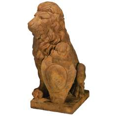 Henri Studios Lion Left Paw on Shield Garden Sculpture