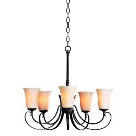 Hubbardton Forge Bronze Five Light Stone Glass Chandelier