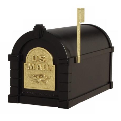 Black with Polished Brass Keystone Mailbox