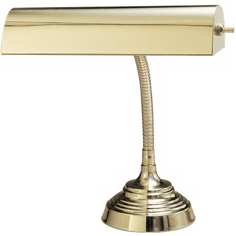 Gooseneck Polished Brass Piano Desk Lamp