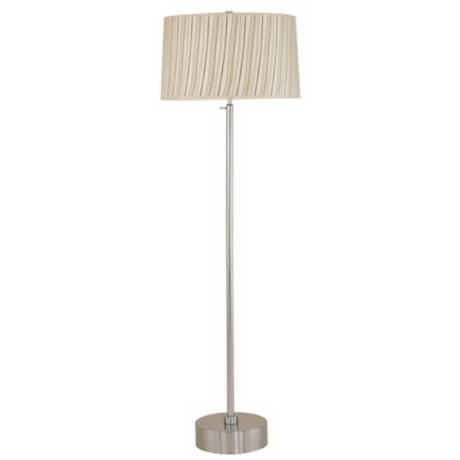 Lights Up! CanCan Brushed Nickel and Beige Stripe Floor Lamp
