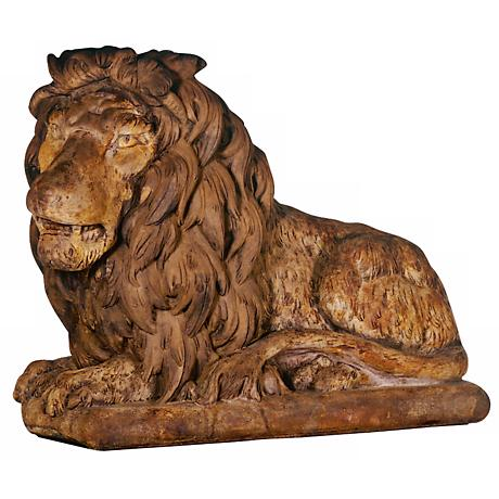 "Henri Studio Grand Lion Facing Left 39""W Garden Sculpture"