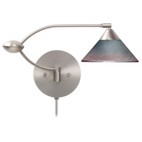 Bi-Color Glass Plug-In Double Swing Arm Wall Lamp