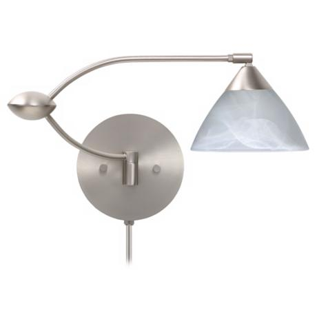Marble Glass Plug-In Double Swing Arm Wall Lamp