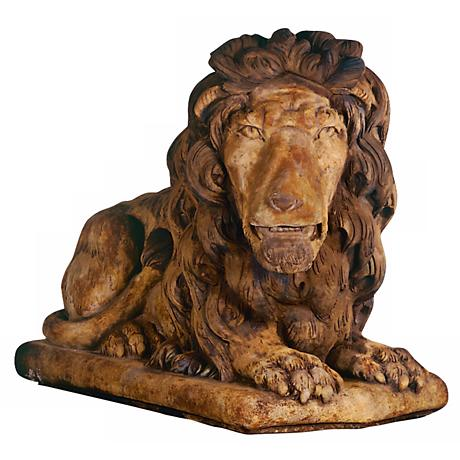 "Henri Studio Grand Lion Facing Right 39""W Garden Sculpture"