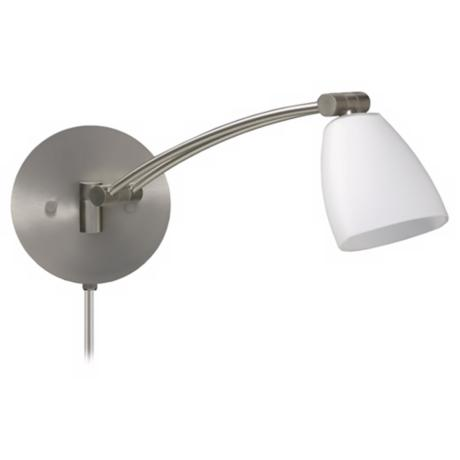 Satin Nickel Opal Glass Plug-In Swing Arm Wall Lamp