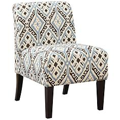Ollano Brown and Blue Diamond Fabric Armless Accent Chair