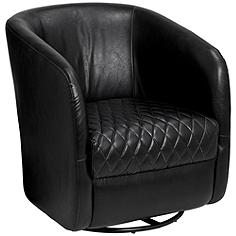 Dax Coal Black Faux Leather Swivel Club Chair