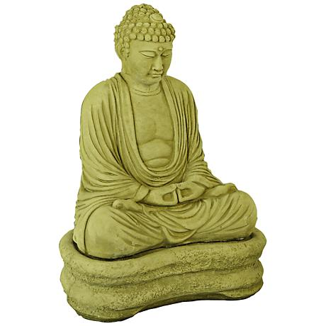 "Olivestone Finish Buddha on Base 22"" High Garden Accent"