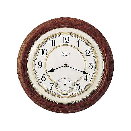 "Bulova William 14"" Round Oak Wall Clock"