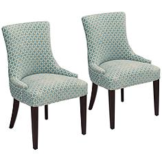 Mckenzie Blue Seaglass Chenille Chairs Set of 2
