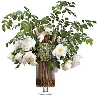 "Peony, Pavona Cactus and Ash 29""Hi Faux Flowers in Vase (32X50) 32X50"
