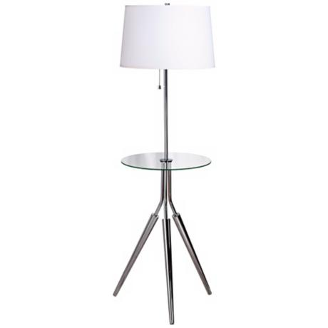 Kenroy Rosie Chrome Finish Glass Tray Table Floor Lamp