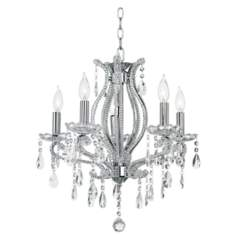 Clear Crystal and Chrome Five Light Chandelier