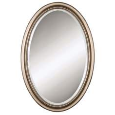 "Uttermost Petite Manhattan Silver Oval 31"" High Wall Mirror"