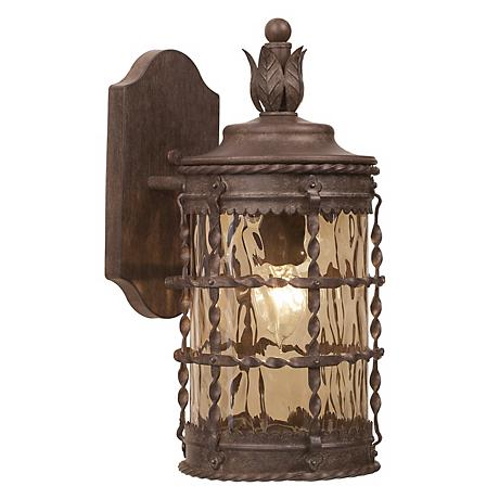 "Mallorca Collection 16"" High Vintage Rust Outdoor Wall Light"