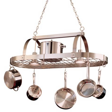 Satin Nickel Pot Rack Chandelier