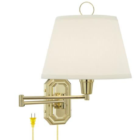 Brass Swing Arm Lamp with Ivory Mushroom Pleated Shade