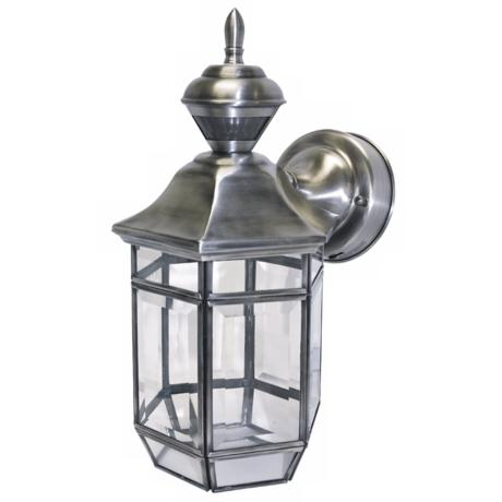 "Motion Sensor 13 3/8"" High Antique Silver Outdoor Light"