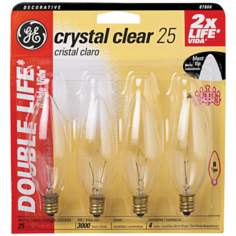 Blunt-Tip 25 Watt Candelabra Base 4-Pack Light Bulbs