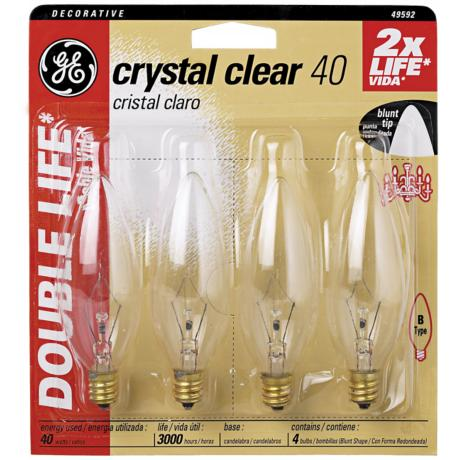 Blunt–Tip 40 Watt Candelabra Base 4–Pack Light Bulbs