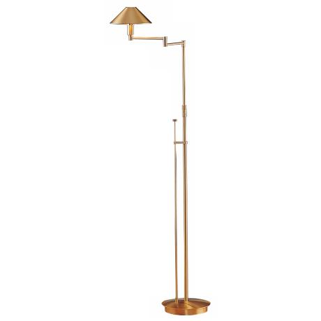 Holtkoetter Brushed Brass Small Shade Swing Arm Floor Lamp