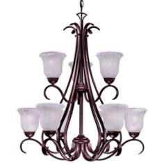 Marchalbo Bronze Nine Light Chandelier