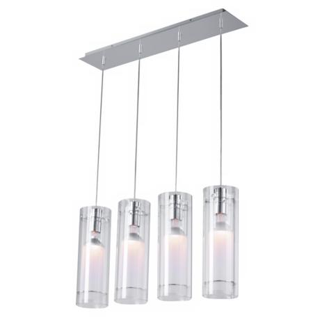 Clear Cylindrical Four Light Contemporary Chandelier