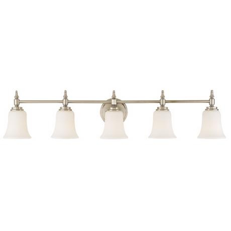 "Darcy Brushed Steel 39 1/2"" Wide Five Light Bathroom Fixture"