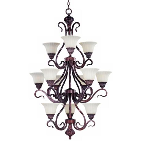 Via Roma Three Tier Vanilla Glass Chandelier