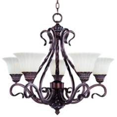 Via Roma Vanilla Glass Five Light Chandelier