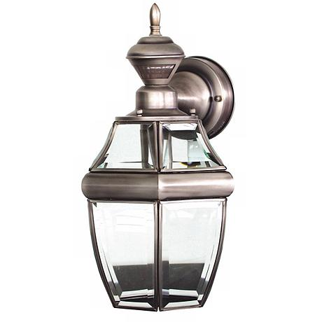 antique silver 14 1 2 dusk to dawn motion sensor wall light 35883. Black Bedroom Furniture Sets. Home Design Ideas