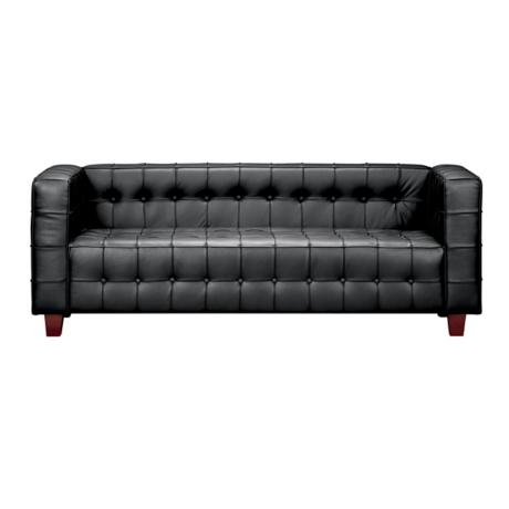 Zuo Black Leather Tufted Sofa