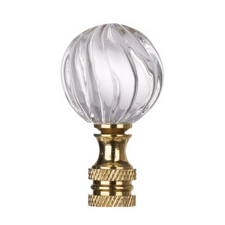 Clear Glass Swirl Lamp Shade Finial