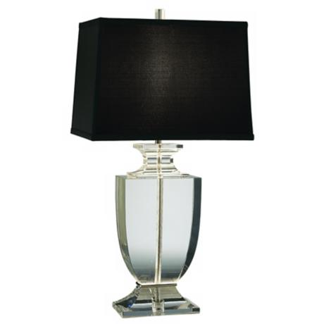 Artemis Clear Lead Crystal Table Lamp with Black Shade