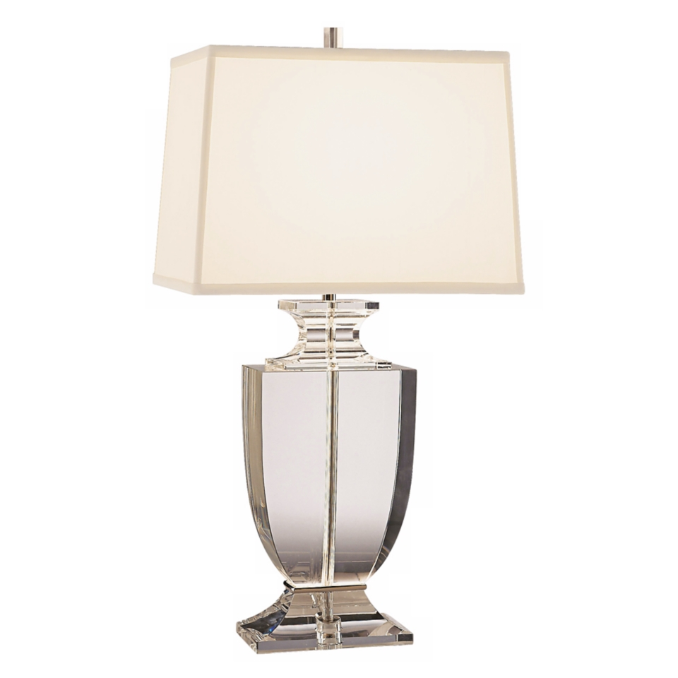 Artemis Clear Lead Crystal Table Lamp With Off White Shade